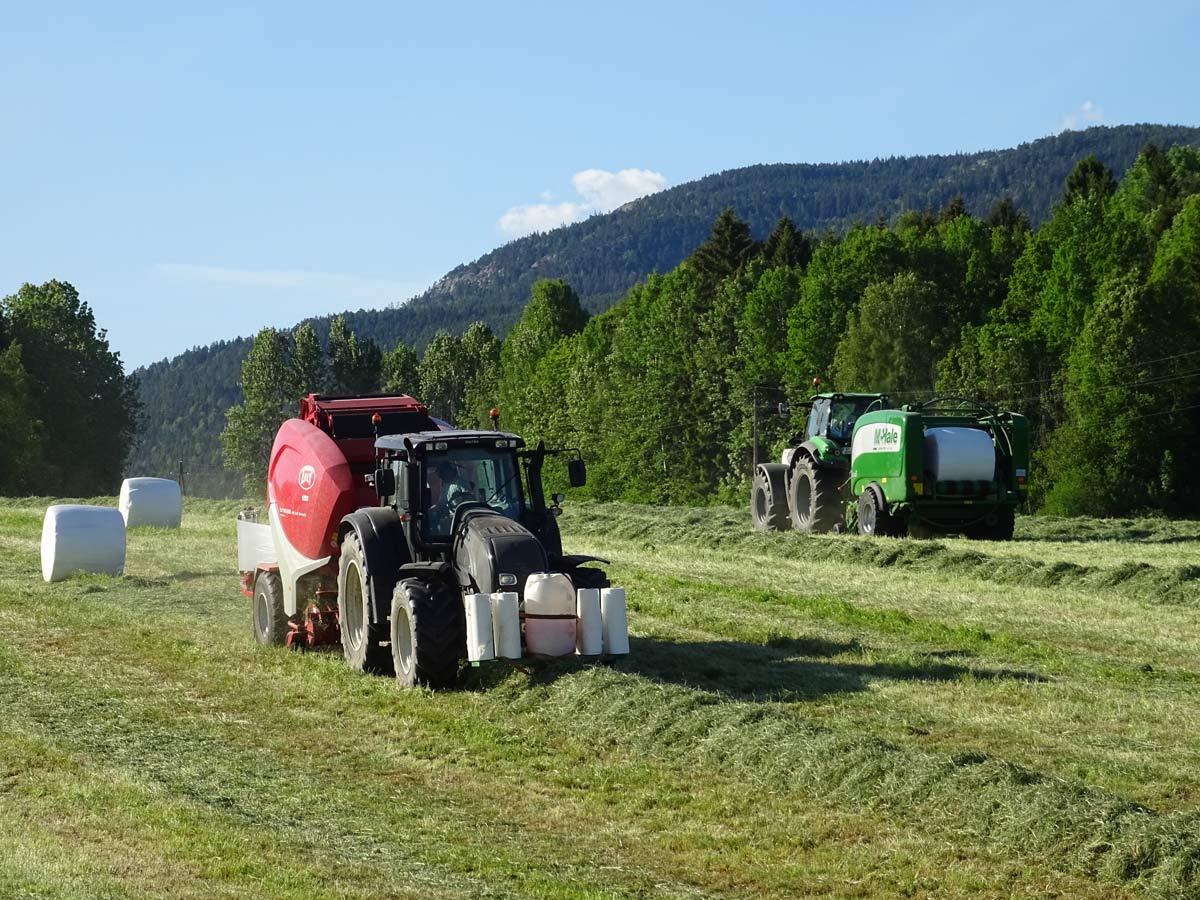 traktor slår hö